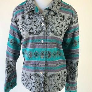 Coldwater Creek size large aqua and grey/lavender